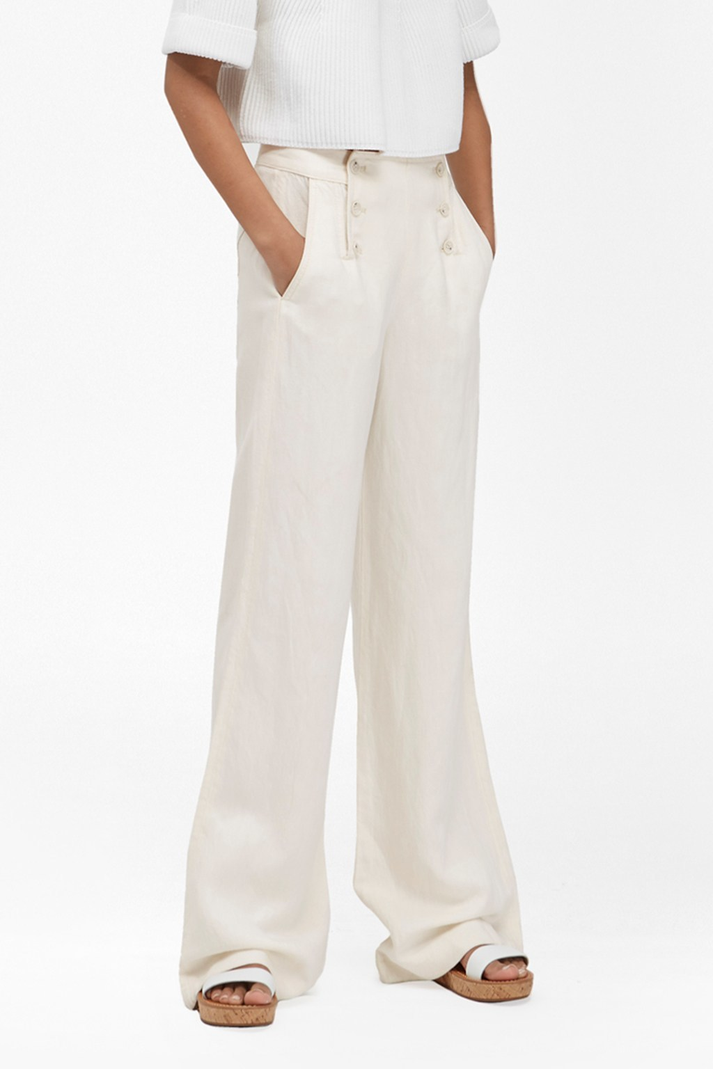 Linen Denim Wide Leg Trousers Bleach White - length: standard; pattern: plain; style: palazzo; waist: high rise; predominant colour: white; occasions: casual; fibres: linen - 100%; texture group: linen; fit: wide leg; pattern type: fabric; season: s/s 2016; wardrobe: basic