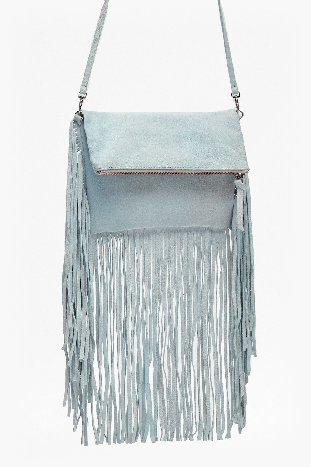 Tia Fringe Foldover Suede Clutch Saltwater - predominant colour: pale blue; occasions: casual, creative work; type of pattern: standard; style: shoulder; length: shoulder (tucks under arm); size: standard; material: suede; embellishment: fringing; pattern: plain; finish: plain; season: s/s 2016; wardrobe: highlight