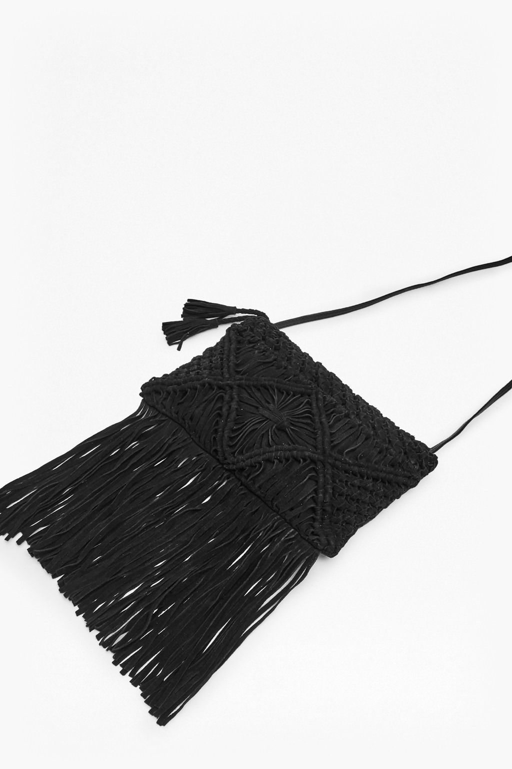 Macrame Suede Fringe Bag Black - predominant colour: black; occasions: casual, creative work; type of pattern: standard; style: shoulder; length: across body/long; size: standard; material: suede; embellishment: fringing; pattern: plain; finish: plain; season: s/s 2016; wardrobe: investment