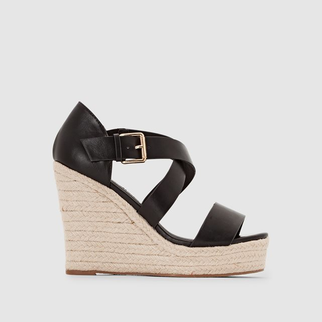314034 Open Toe Wedge Heel Sandals - predominant colour: black; occasions: evening, creative work; material: faux leather; heel height: high; heel: wedge; toe: open toe/peeptoe; style: standard; finish: plain; pattern: plain; season: s/s 2016; wardrobe: investment