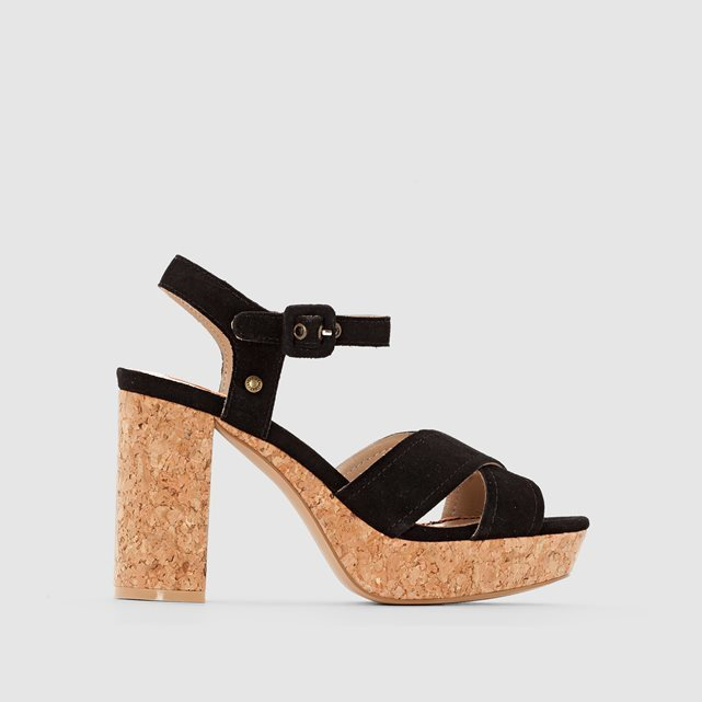 Grace Suede Platform Sandals - predominant colour: black; material: faux leather; heel height: high; ankle detail: ankle strap; heel: block; toe: open toe/peeptoe; style: strappy; finish: plain; pattern: plain; occasions: creative work; shoe detail: platform; season: s/s 2016