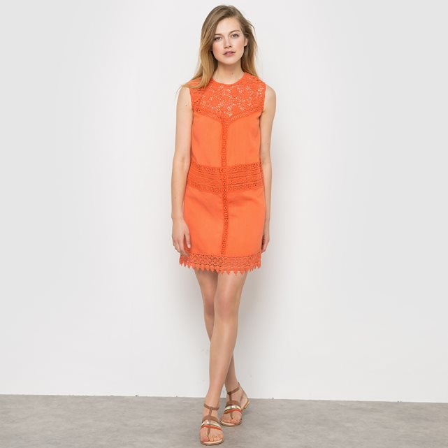 Samy Shift Dress With Lace Detail - style: shift; length: mid thigh; pattern: plain; sleeve style: sleeveless; predominant colour: bright orange; occasions: evening; fit: body skimming; fibres: viscose/rayon - 100%; neckline: crew; sleeve length: sleeveless; texture group: lace; pattern type: fabric; embellishment: lace; season: s/s 2016; wardrobe: event