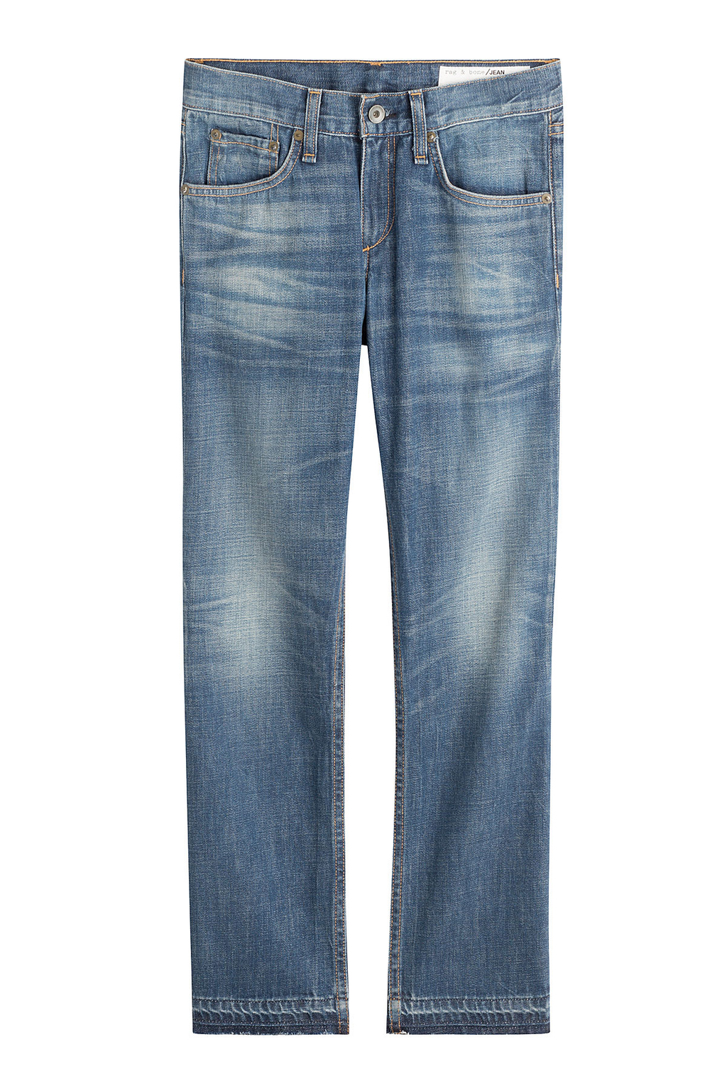 Cropped Skinny Jeans - style: boyfriend; pattern: plain; pocket detail: traditional 5 pocket; waist: mid/regular rise; predominant colour: denim; occasions: casual; length: calf length; fibres: cotton - 100%; jeans detail: whiskering, washed/faded; texture group: denim; pattern type: fabric; season: s/s 2016; wardrobe: basic
