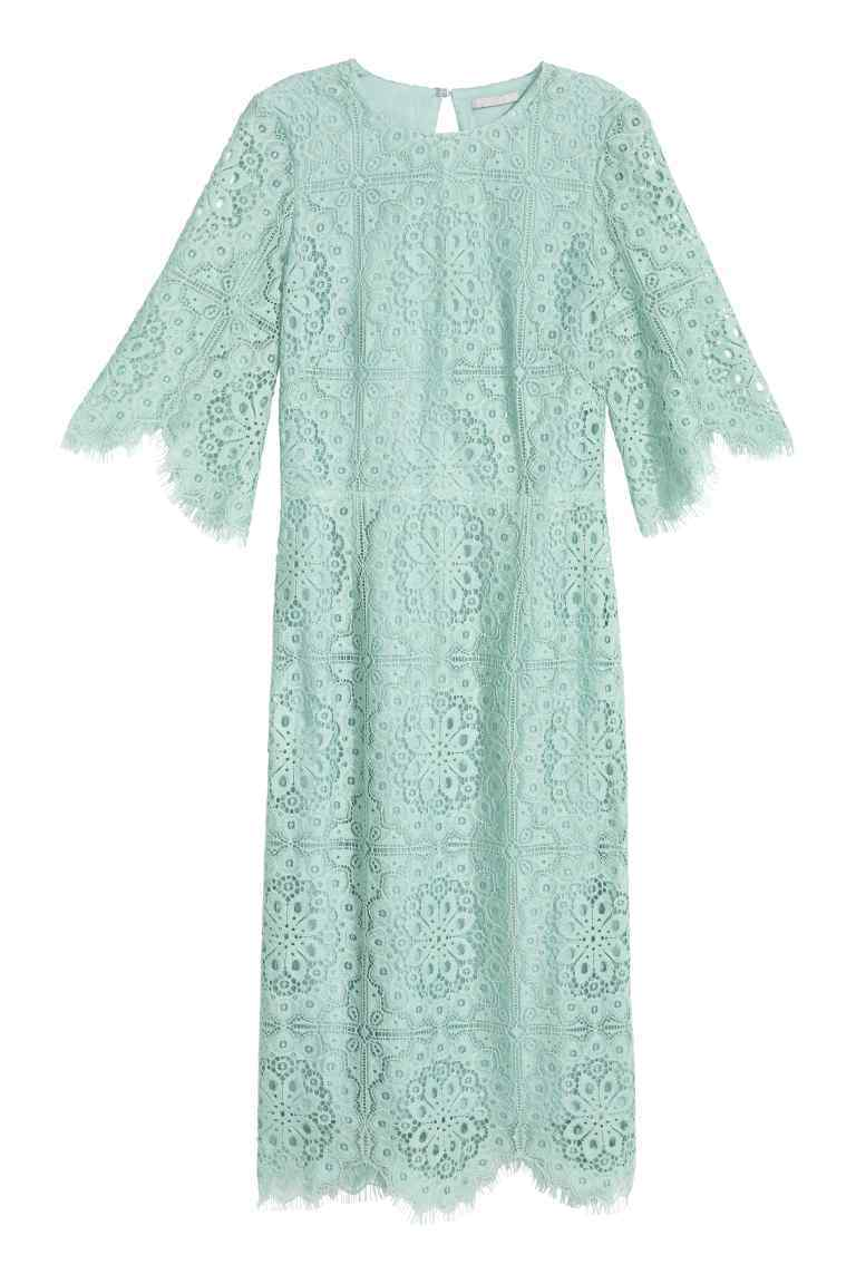 Lace Dress - style: shift; predominant colour: pistachio; occasions: evening; length: on the knee; fit: body skimming; fibres: cotton - mix; neckline: crew; sleeve length: 3/4 length; sleeve style: standard; texture group: lace; pattern type: fabric; pattern size: standard; pattern: patterned/print; season: s/s 2016; wardrobe: event