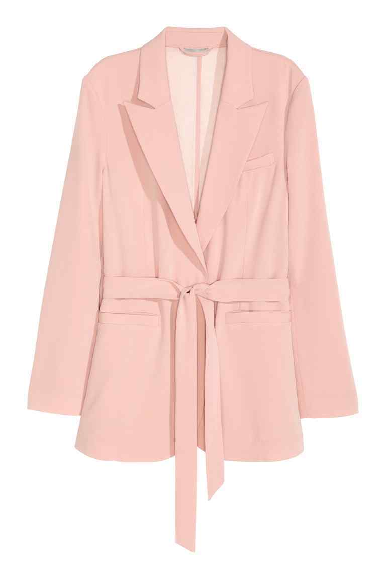 Jacket With A Tie Belt - pattern: plain; style: single breasted blazer; length: below the bottom; collar: standard lapel/rever collar; predominant colour: pink; fit: tailored/fitted; fibres: polyester/polyamide - 100%; occasions: occasion, creative work; waist detail: belted waist/tie at waist/drawstring; sleeve length: long sleeve; sleeve style: standard; texture group: crepes; collar break: low/open; pattern type: fabric; season: s/s 2016