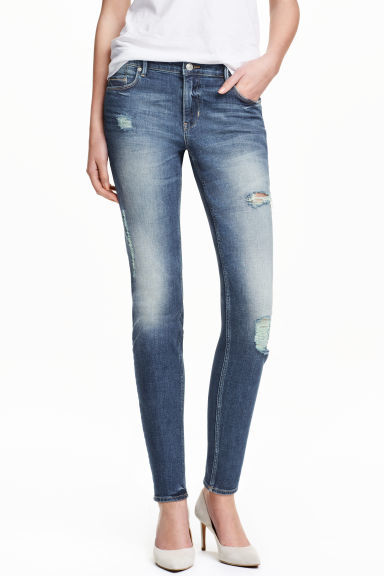 Slim Regular Trashed Jeans - length: standard; pattern: plain; pocket detail: traditional 5 pocket; style: slim leg; waist: mid/regular rise; predominant colour: navy; occasions: casual; fibres: cotton - stretch; jeans detail: shading down centre of thigh, rips; texture group: denim; pattern type: fabric; season: s/s 2016; wardrobe: basic