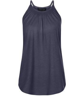 Navy Shirred High Neck Vest - pattern: plain; sleeve style: sleeveless; style: vest top; predominant colour: navy; occasions: casual; length: standard; fibres: cotton - mix; fit: body skimming; neckline: crew; sleeve length: sleeveless; pattern type: fabric; texture group: jersey - stretchy/drapey; season: s/s 2016; wardrobe: basic