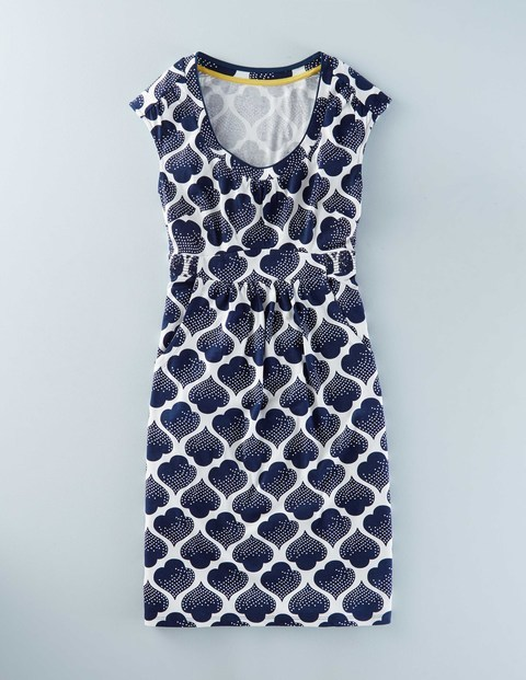 Casual Weekend Summer Dress Navy Dotty Tile Women, Navy Dotty Tile - style: shift; length: mid thigh; neckline: round neck; sleeve style: capped; secondary colour: white; predominant colour: navy; occasions: casual, creative work; fit: body skimming; fibres: cotton - mix; sleeve length: short sleeve; pattern type: fabric; pattern: patterned/print; texture group: jersey - stretchy/drapey; season: s/s 2016; wardrobe: highlight