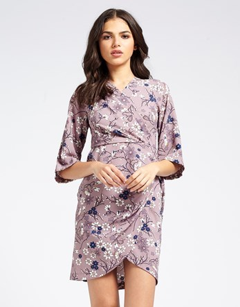 Spring Floral Crossover Dress - style: faux wrap/wrap; length: mid thigh; neckline: v-neck; secondary colour: white; predominant colour: lilac; occasions: evening; fit: body skimming; fibres: polyester/polyamide - stretch; sleeve length: 3/4 length; sleeve style: standard; pattern type: fabric; pattern: florals; texture group: jersey - stretchy/drapey; multicoloured: multicoloured; season: s/s 2016; wardrobe: event