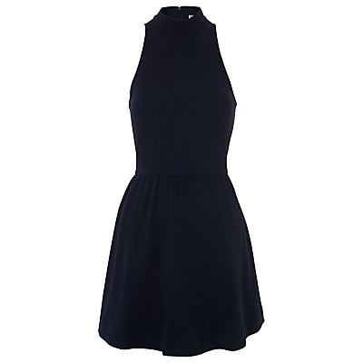 Nina Flippy Jersey Dress, Navy - length: mid thigh; pattern: plain; sleeve style: sleeveless; neckline: high neck; waist detail: fitted waist; predominant colour: navy; occasions: evening; fit: fitted at waist & bust; style: fit & flare; fibres: polyester/polyamide - stretch; sleeve length: sleeveless; pattern type: fabric; texture group: jersey - stretchy/drapey; season: s/s 2016; wardrobe: event