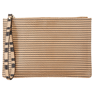 Rectangular Snake Wristlet, Nude - predominant colour: camel; secondary colour: nude; occasions: evening; type of pattern: light; style: grab bag; length: hand carry; size: small; material: leather; pattern: striped; finish: plain; season: s/s 2016; wardrobe: event