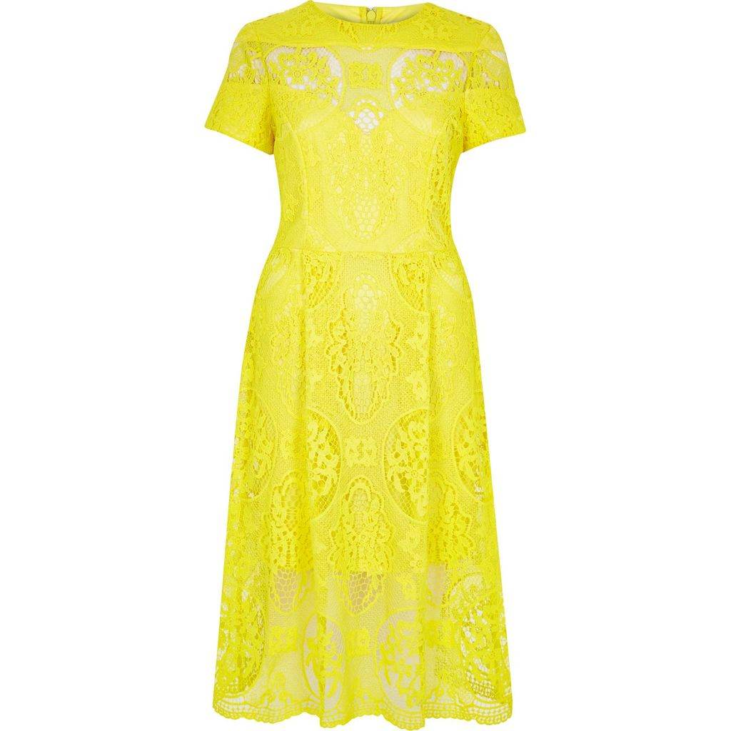 Womens Yellow Lace Midi Dress - length: below the knee; predominant colour: yellow; occasions: evening; fit: fitted at waist & bust; style: fit & flare; fibres: polyester/polyamide - 100%; neckline: crew; sleeve length: short sleeve; sleeve style: standard; texture group: lace; pattern type: fabric; pattern: patterned/print; season: s/s 2016; wardrobe: event