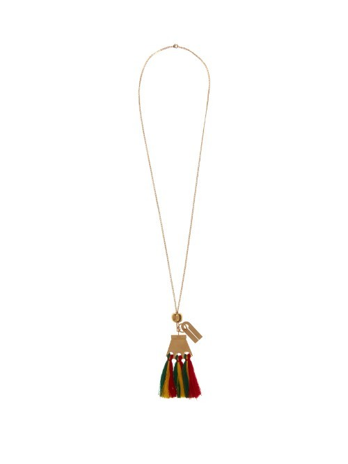 Janis Tassel Pendant Necklace - predominant colour: gold; occasions: casual, creative work; style: pendant; length: long; size: standard; material: chain/metal; finish: plain; embellishment: tassels; season: s/s 2016; wardrobe: basic