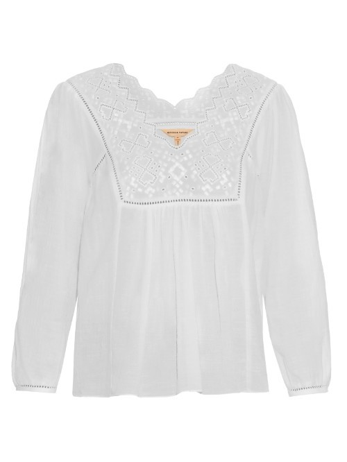 Broderie Anglaise Cotton Gauze Top - neckline: v-neck; pattern: plain; predominant colour: white; occasions: casual; length: standard; style: top; fibres: cotton - 100%; fit: body skimming; sleeve length: 3/4 length; sleeve style: standard; pattern type: fabric; texture group: jersey - stretchy/drapey; embellishment: lace; season: s/s 2016; wardrobe: highlight