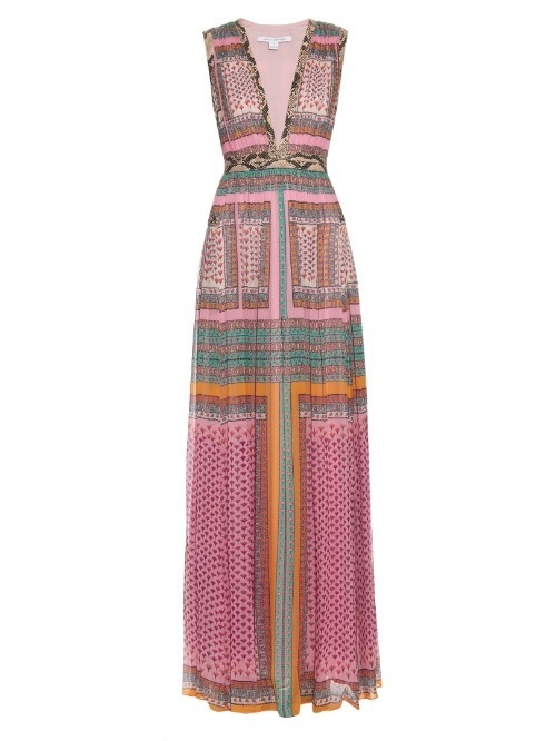 Lelani Maxi Dress - neckline: low v-neck; sleeve style: sleeveless; style: maxi dress; predominant colour: pink; secondary colour: emerald green; length: floor length; fit: fitted at waist & bust; fibres: silk - 100%; occasions: occasion; sleeve length: sleeveless; pattern type: fabric; pattern size: standard; pattern: patterned/print; texture group: other - light to midweight; season: s/s 2016; wardrobe: event