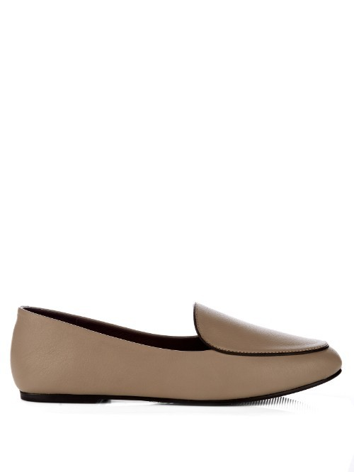 Liza Leather Loafers - predominant colour: taupe; occasions: casual, creative work; material: leather; heel height: flat; toe: round toe; style: loafers; finish: plain; pattern: plain; season: s/s 2016; wardrobe: basic