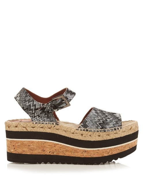 Zigzag Espadrille Flatform Sandals - predominant colour: mid grey; secondary colour: light grey; occasions: casual, holiday; material: leather; heel height: mid; ankle detail: ankle strap; heel: wedge; toe: open toe/peeptoe; style: strappy; finish: plain; pattern: animal print; shoe detail: platform; season: s/s 2016; wardrobe: highlight