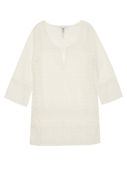 Montauk Cover Up - pattern: plain; predominant colour: white; occasions: casual, holiday; length: standard; style: top; neckline: collarstand & mandarin with v-neck; fibres: cotton - 100%; fit: body skimming; sleeve length: 3/4 length; sleeve style: standard; texture group: cotton feel fabrics; pattern type: fabric; season: s/s 2016; wardrobe: basic