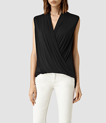Glo Top - neckline: low v-neck; pattern: plain; sleeve style: sleeveless; bust detail: subtle bust detail; predominant colour: black; occasions: evening, work; length: standard; style: top; fibres: viscose/rayon - 100%; fit: body skimming; sleeve length: sleeveless; pattern type: fabric; texture group: jersey - stretchy/drapey; season: s/s 2016; wardrobe: basic