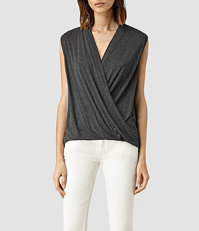 Glo Top - neckline: v-neck; pattern: plain; sleeve style: sleeveless; bust detail: subtle bust detail; predominant colour: charcoal; occasions: evening, work; length: standard; style: top; fibres: viscose/rayon - 100%; fit: body skimming; sleeve length: sleeveless; pattern type: fabric; texture group: jersey - stretchy/drapey; season: s/s 2016; wardrobe: basic