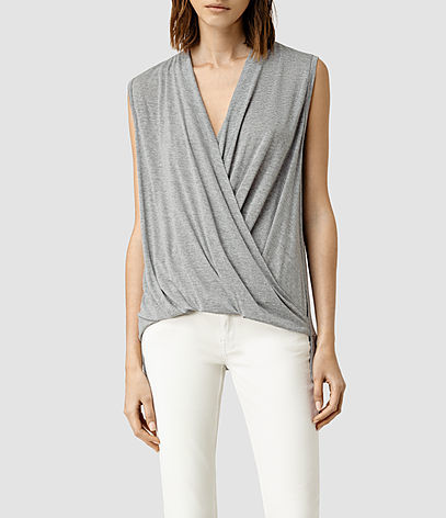 Glo Top - neckline: v-neck; pattern: plain; sleeve style: sleeveless; bust detail: subtle bust detail; predominant colour: light grey; occasions: evening, work; length: standard; style: top; fibres: viscose/rayon - 100%; fit: body skimming; sleeve length: sleeveless; pattern type: fabric; texture group: jersey - stretchy/drapey; season: s/s 2016; wardrobe: basic