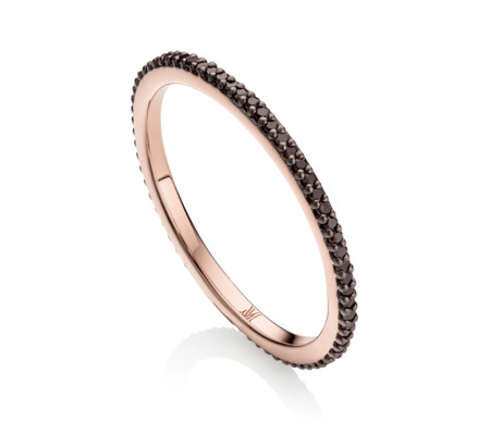 Rose Gold Skinny Eternity Ring Black Diamond - secondary colour: gold; predominant colour: black; occasions: evening, occasion; style: band; size: small/fine; material: chain/metal; finish: metallic; season: s/s 2016; wardrobe: event