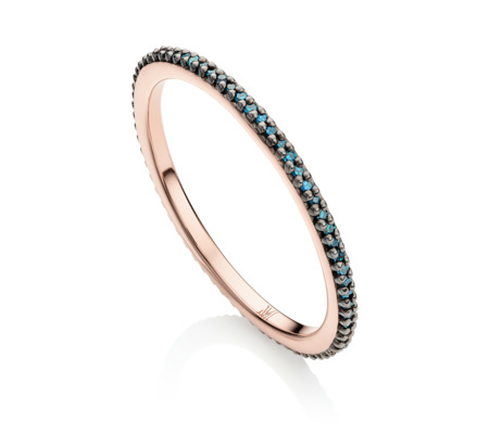 Rose Gold Skinny Eternity Ring Blue Diamond - predominant colour: turquoise; secondary colour: gold; occasions: evening, occasion; style: band; size: small/fine; material: chain/metal; finish: metallic; season: s/s 2016; wardrobe: event