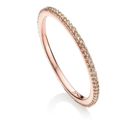 Rose Gold Vermeil Skinny Eternity Ring Champagne Diamond - predominant colour: gold; occasions: evening, occasion; style: band; size: small/fine; material: chain/metal; finish: metallic; season: s/s 2016; wardrobe: event