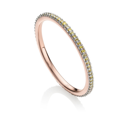 Rose Gold Skinny Eternity Ring Yellow Diamond - predominant colour: gold; occasions: evening, occasion; style: band; size: small/fine; material: chain/metal; finish: metallic; embellishment: crystals/glass; season: s/s 2016; wardrobe: event