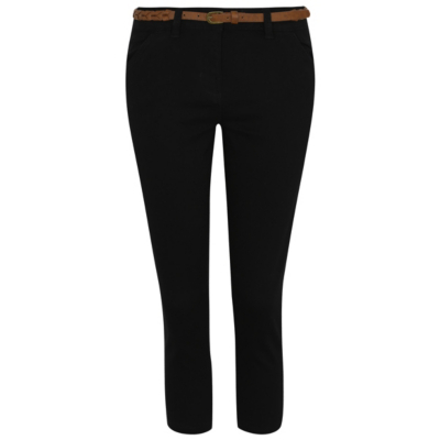 Belted Cropped Trousers Black - pattern: plain; waist: mid/regular rise; predominant colour: black; occasions: casual; length: calf length; fibres: cotton - 100%; texture group: cotton feel fabrics; fit: slim leg; pattern type: fabric; style: standard; season: s/s 2016; wardrobe: basic