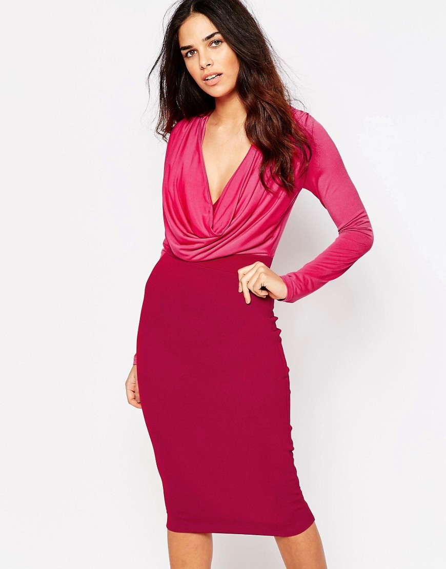 Amara Cowl Front Bodycon Dress Pink - length: below the knee; neckline: cowl/draped neck; fit: tight; style: bodycon; predominant colour: hot pink; occasions: evening, occasion; fibres: polyester/polyamide - stretch; sleeve length: long sleeve; sleeve style: standard; texture group: jersey - clingy; pattern type: fabric; pattern size: light/subtle; pattern: colourblock; secondary colour: raspberry; season: s/s 2016; wardrobe: event