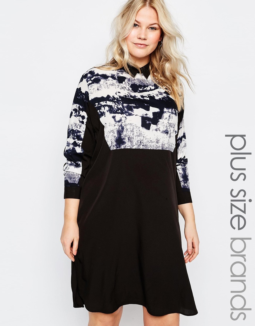 Plus Shirt Dress With Smudge Print Top Black/White - style: shift; length: mid thigh; secondary colour: white; predominant colour: black; fit: soft a-line; fibres: polyester/polyamide - 100%; neckline: no opening/shirt collar/peter pan; hip detail: subtle/flattering hip detail; sleeve length: 3/4 length; sleeve style: standard; trends: monochrome; pattern type: fabric; pattern size: standard; pattern: patterned/print; texture group: woven light midweight; occasions: creative work; season: s/s 2016; wardrobe: highlight