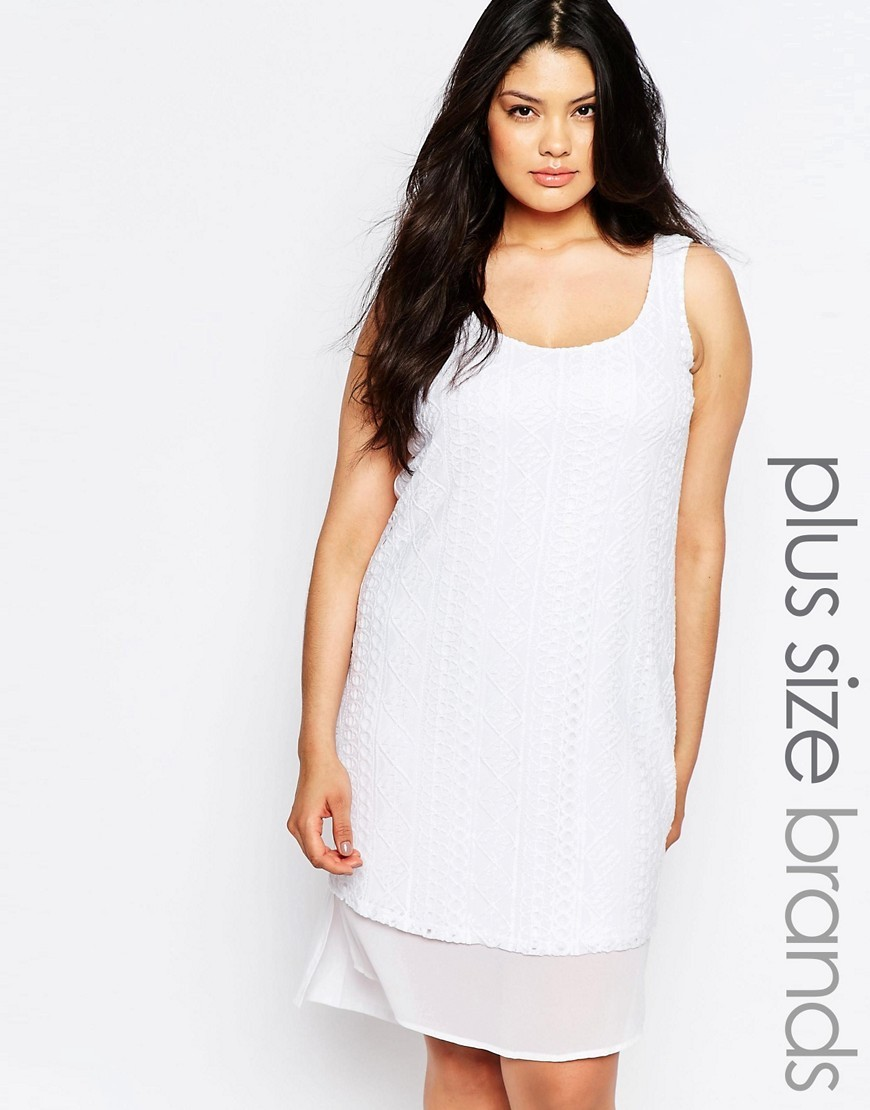 Sleeveless Crochet Dress With Layered Hem White - style: tunic; fit: loose; pattern: plain; sleeve style: sleeveless; predominant colour: white; occasions: casual, evening, holiday; length: on the knee; neckline: scoop; fibres: cotton - 100%; back detail: longer hem at back than at front; sleeve length: sleeveless; texture group: crepes; pattern type: fabric; season: s/s 2016; wardrobe: basic