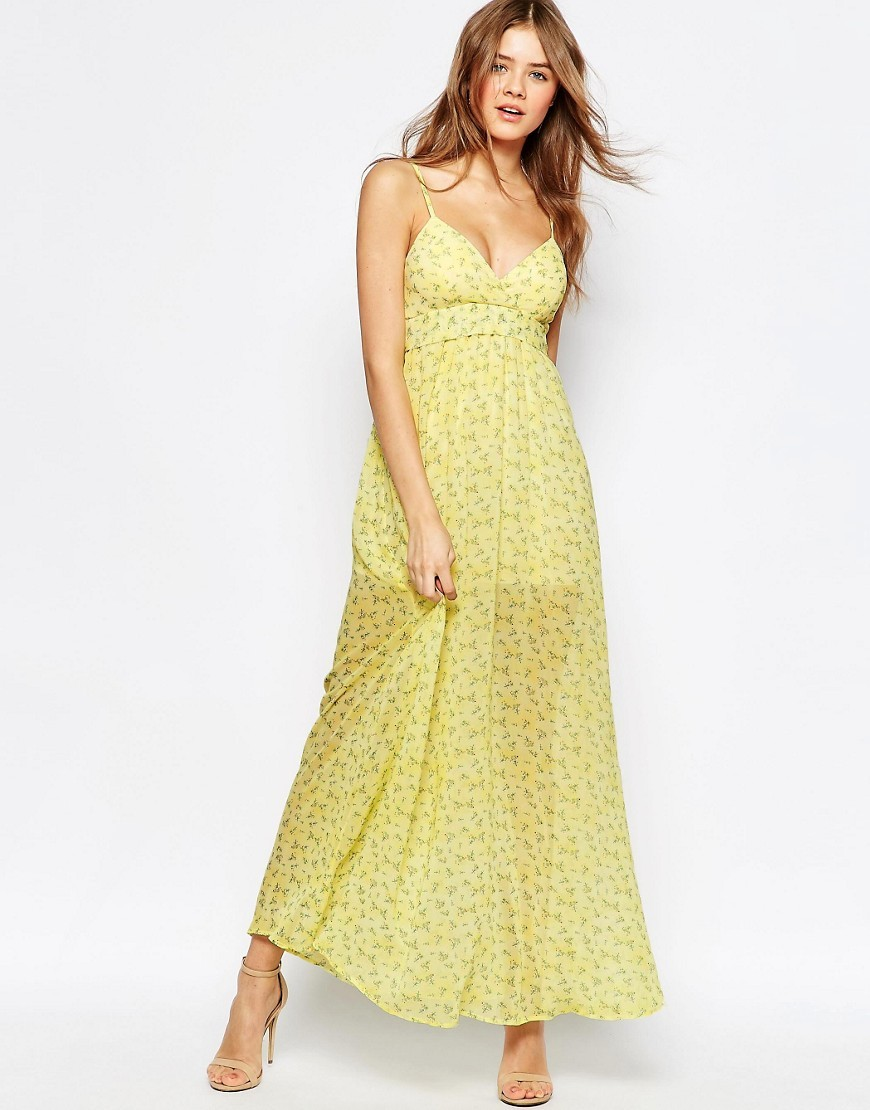 Cami Maxi Dress In Ditsy Floral Print Yellow - neckline: low v-neck; sleeve style: spaghetti straps; style: maxi dress; predominant colour: yellow; occasions: evening; length: floor length; fit: body skimming; fibres: polyester/polyamide - 100%; sleeve length: sleeveless; texture group: lace; pattern type: fabric; pattern: florals; season: s/s 2016; wardrobe: event