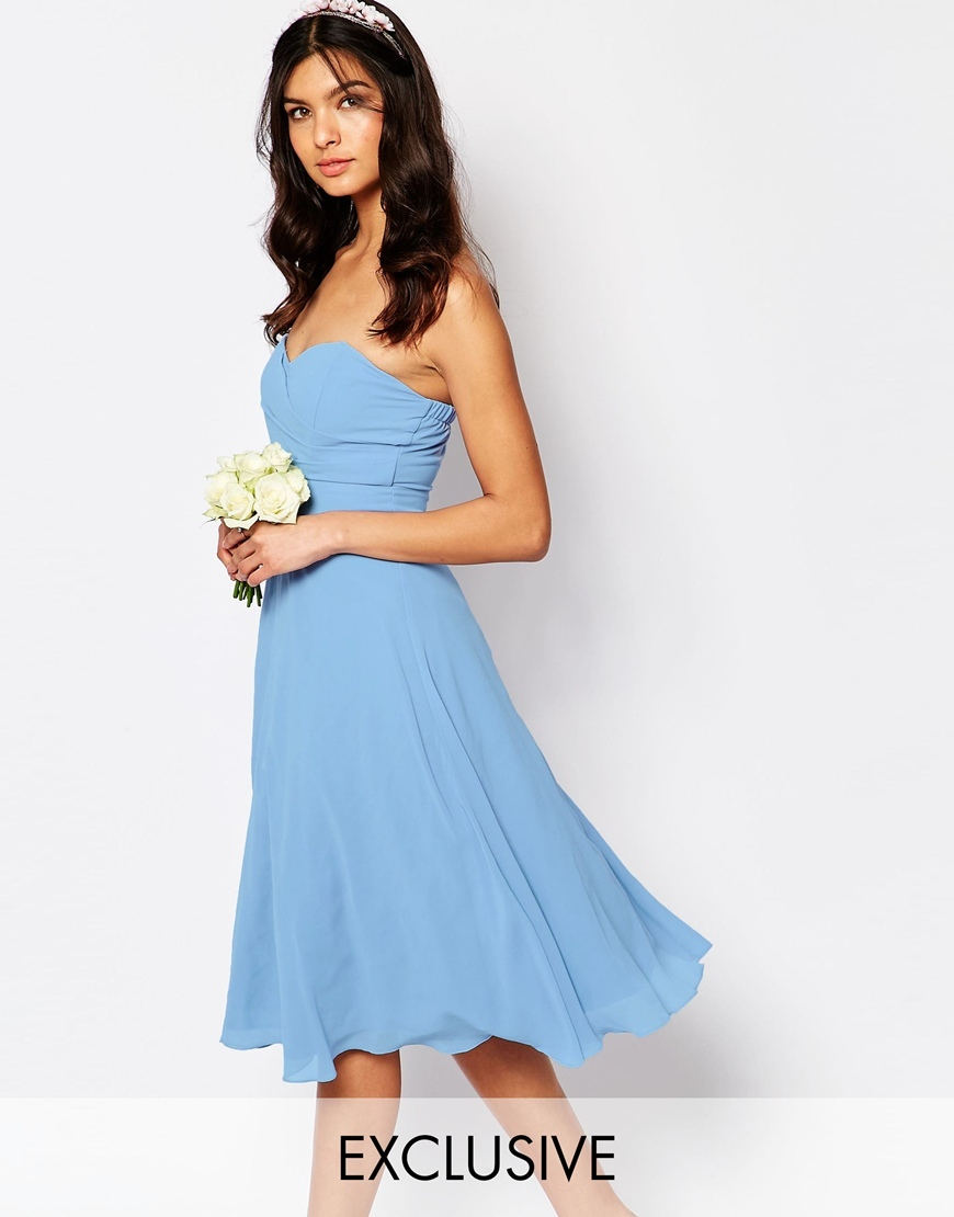 Wedding Prom Midi Dress Cashmere Blue - length: below the knee; neckline: strapless (straight/sweetheart); pattern: plain; style: prom dress; sleeve style: strapless; predominant colour: pale blue; fit: fitted at waist & bust; fibres: polyester/polyamide - 100%; occasions: occasion; sleeve length: sleeveless; texture group: sheer fabrics/chiffon/organza etc.; pattern type: fabric; season: s/s 2016; wardrobe: event