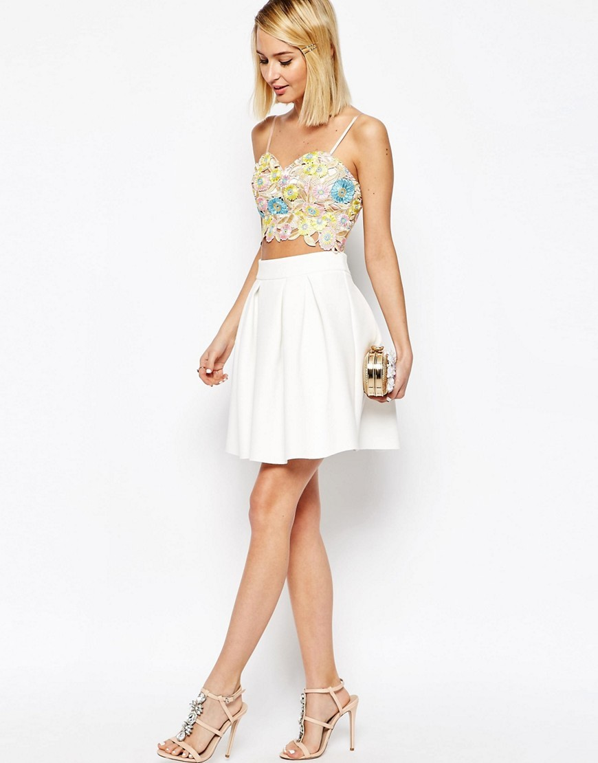 Scuba Mini Prom Skirt White - length: mid thigh; pattern: plain; style: full/prom skirt; fit: loose/voluminous; waist: high rise; predominant colour: ivory/cream; occasions: evening, occasion; fibres: polyester/polyamide - mix; hip detail: adds bulk at the hips; waist detail: feature waist detail; pattern type: fabric; texture group: other - light to midweight; season: s/s 2016; wardrobe: event