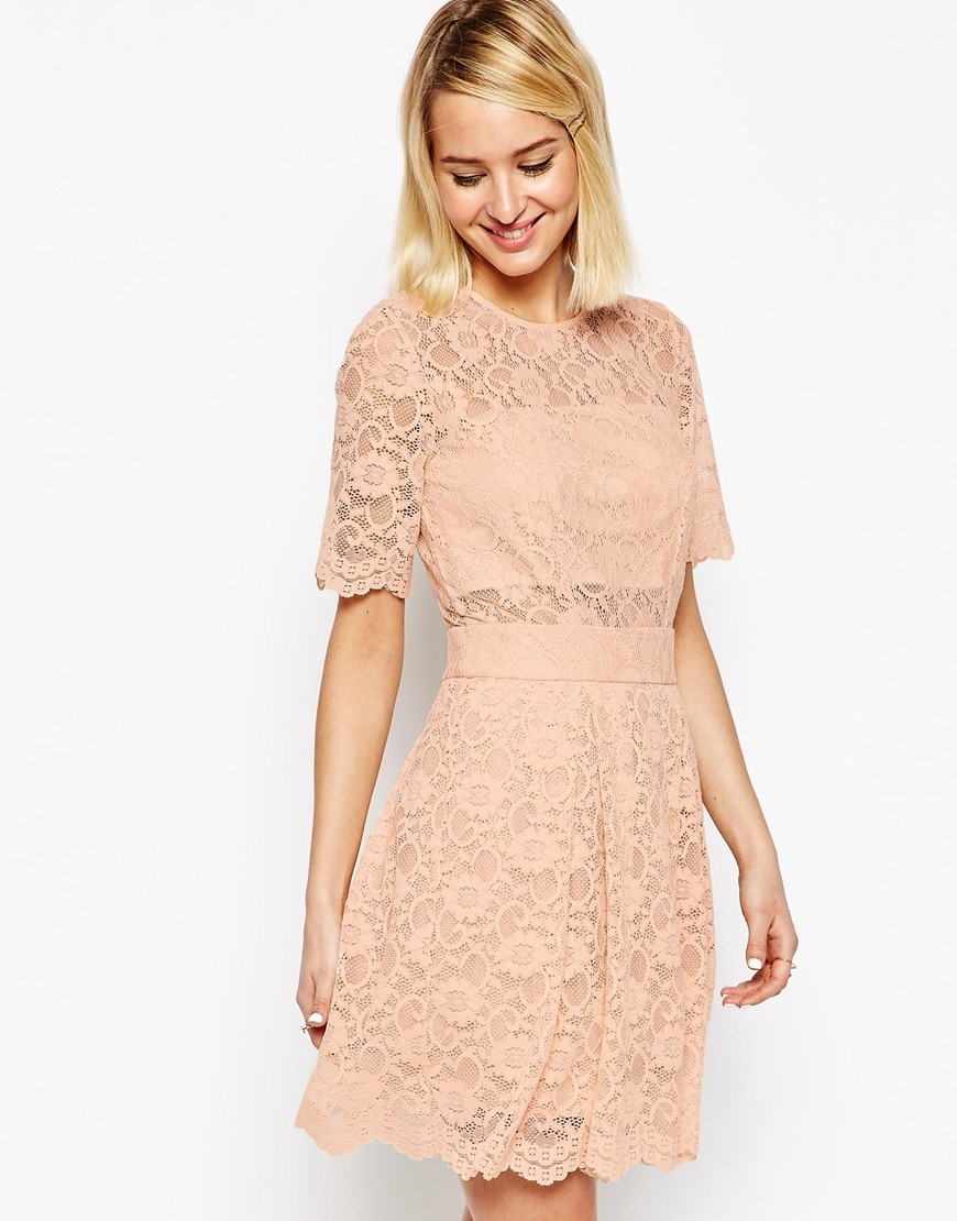 Lace Mini Prom Dress Nude - predominant colour: blush; occasions: evening; length: just above the knee; fit: fitted at waist & bust; style: fit & flare; fibres: polyester/polyamide - 100%; neckline: crew; sleeve length: half sleeve; sleeve style: standard; texture group: lace; pattern type: fabric; pattern size: standard; pattern: patterned/print; season: s/s 2016; wardrobe: event