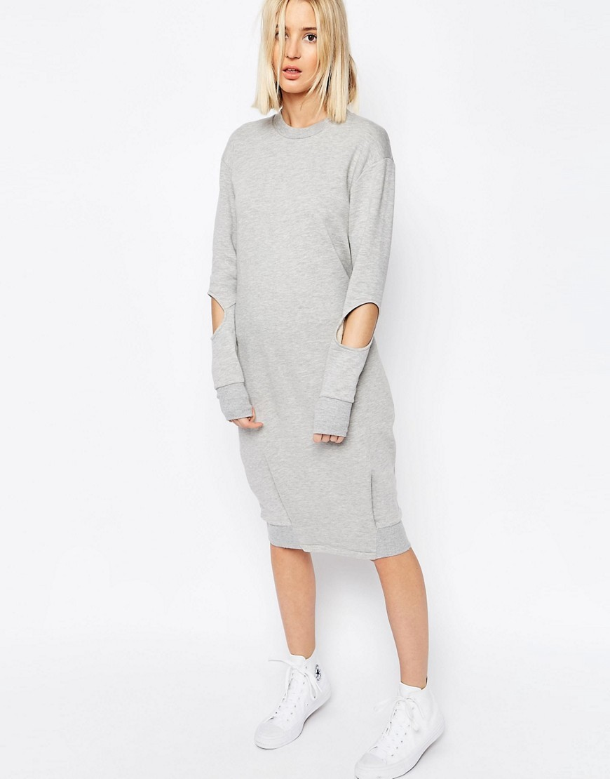 Tuck Detail Midi Sweater Dress With Cut Out Grey - style: t-shirt; length: below the knee; pattern: plain; predominant colour: light grey; occasions: casual; fit: body skimming; fibres: cotton - stretch; neckline: crew; sleeve length: long sleeve; sleeve style: standard; pattern type: fabric; texture group: jersey - stretchy/drapey; season: s/s 2016; wardrobe: basic