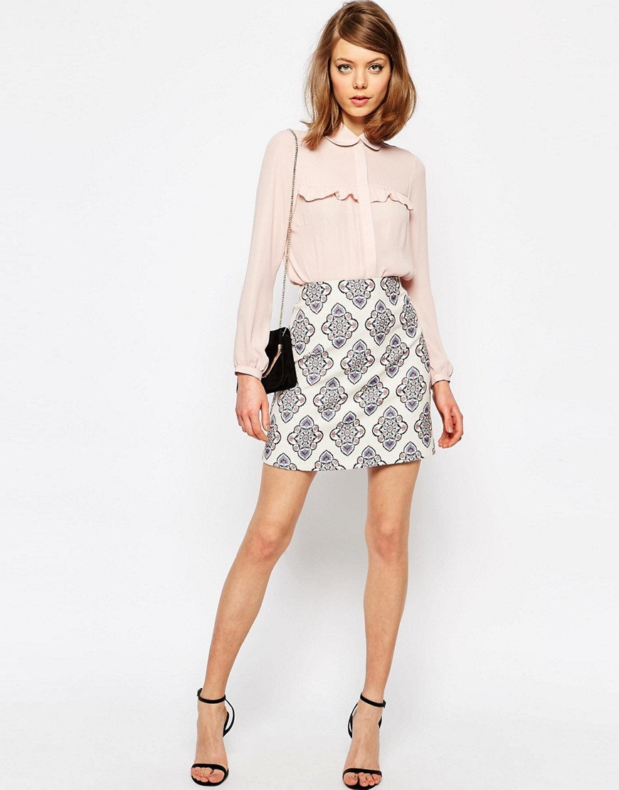 A Line Mini Skirt In Premium Jacquard Tile Jacquard - length: mid thigh; fit: loose/voluminous; waist: high rise; secondary colour: white; predominant colour: mid grey; occasions: casual, creative work; style: mini skirt; fibres: polyester/polyamide - mix; pattern type: fabric; pattern: patterned/print; texture group: woven light midweight; pattern size: light/subtle (bottom); season: s/s 2016; wardrobe: highlight