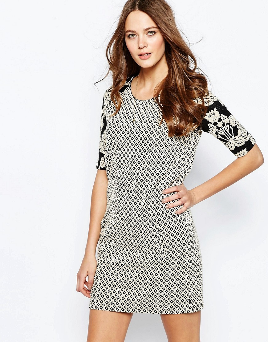 Contrast Print Sleeve Shift Dress Mu1 - style: t-shirt; length: mini; neckline: round neck; predominant colour: white; secondary colour: black; fit: body skimming; fibres: cotton - stretch; sleeve length: half sleeve; sleeve style: standard; trends: monochrome; pattern type: fabric; pattern: patterned/print; texture group: woven light midweight; occasions: creative work; season: s/s 2016; wardrobe: highlight; embellishment: contrast fabric; embellishment location: shoulder