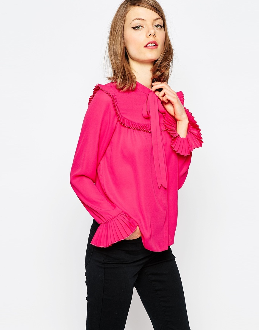 Blouse With Pleated Collar & Ruffle Yoke Pink - sleeve style: bell sleeve; pattern: plain; neckline: pussy bow; style: blouse; predominant colour: hot pink; occasions: work, occasion; length: standard; fibres: polyester/polyamide - 100%; fit: body skimming; sleeve length: long sleeve; texture group: sheer fabrics/chiffon/organza etc.; bust detail: bulky details at bust; pattern type: fabric; season: s/s 2016; wardrobe: highlight