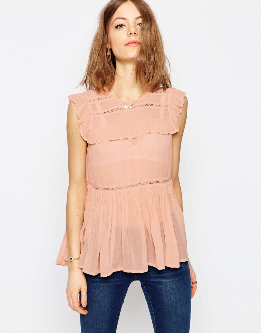 Sleeveless Tiered Ruffle Blouse With Lace Inserts Blush - neckline: round neck; pattern: plain; sleeve style: sleeveless; style: blouse; waist detail: peplum waist detail; predominant colour: nude; occasions: evening, creative work; length: standard; fibres: viscose/rayon - 100%; fit: body skimming; sleeve length: sleeveless; texture group: sheer fabrics/chiffon/organza etc.; bust detail: tiers/frills/bulky drapes/pleats; pattern type: fabric; season: s/s 2016