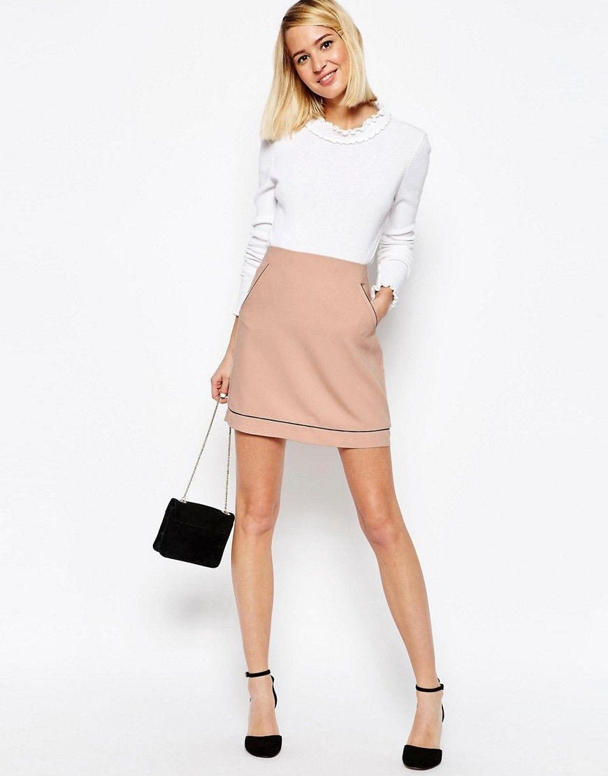A Line Skirt With Piping Detail Neutral - length: mini; pattern: plain; fit: tailored/fitted; waist: high rise; predominant colour: nude; style: mini skirt; fibres: polyester/polyamide - 100%; texture group: crepes; pattern type: fabric; occasions: creative work; season: s/s 2016; wardrobe: basic
