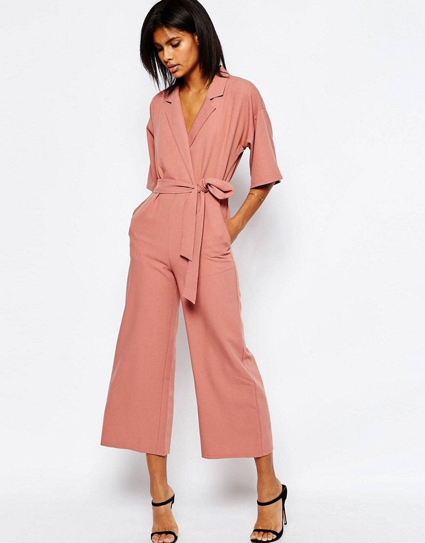 Jumpsuit With Kimono Sleeve Cosmetic Pink - neckline: v-neck; fit: fitted at waist; pattern: plain; predominant colour: pink; length: calf length; fibres: polyester/polyamide - stretch; occasions: occasion, creative work; sleeve length: half sleeve; sleeve style: standard; style: jumpsuit; pattern type: fabric; texture group: other - light to midweight; season: s/s 2016; wardrobe: highlight
