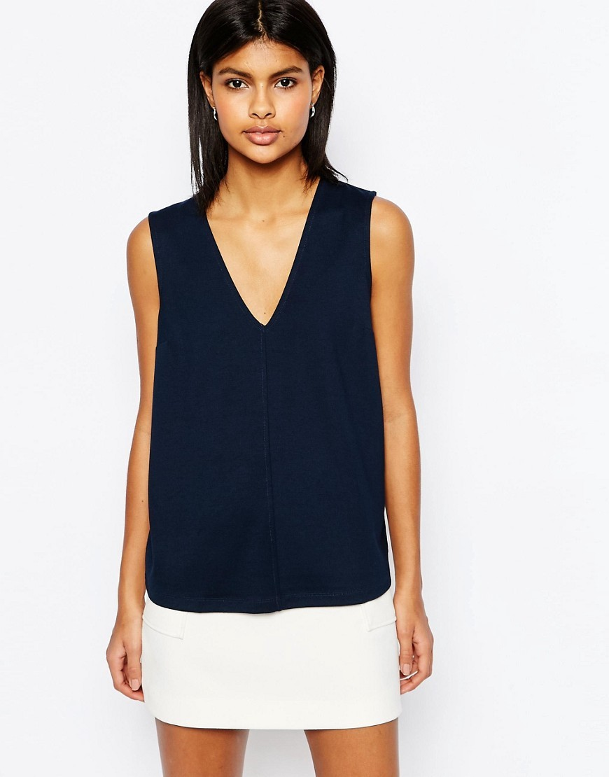 Sleeveless Top In Ponte Navy - neckline: v-neck; pattern: plain; sleeve style: sleeveless; predominant colour: navy; occasions: casual; length: standard; style: top; fibres: viscose/rayon - stretch; fit: body skimming; sleeve length: sleeveless; pattern type: fabric; texture group: jersey - stretchy/drapey; season: s/s 2016; wardrobe: basic