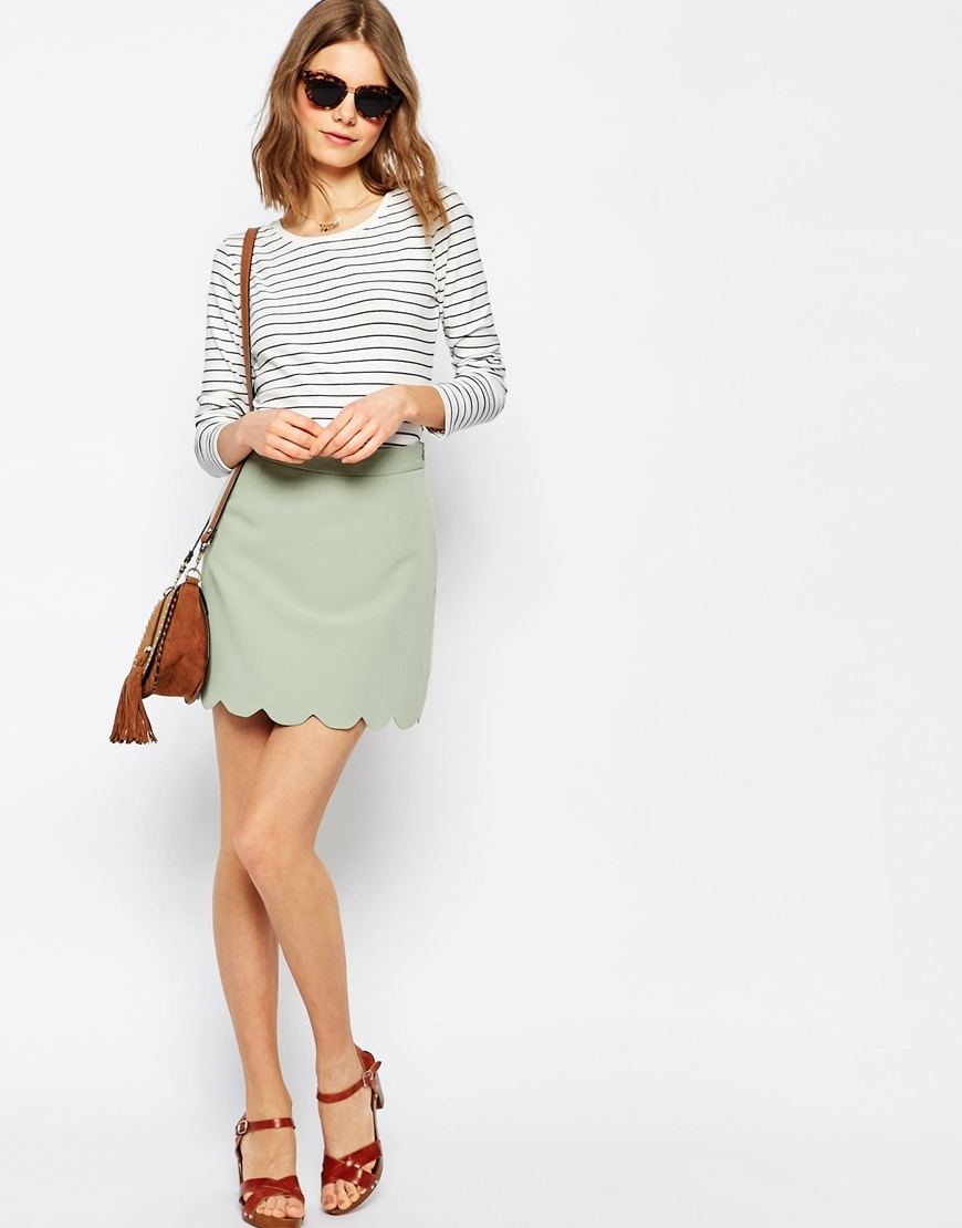 A Line Mini Skirt With Scallop Hem Sage - length: mini; pattern: plain; fit: tailored/fitted; waist: high rise; predominant colour: pistachio; style: mini skirt; fibres: polyester/polyamide - 100%; texture group: crepes; pattern type: fabric; occasions: creative work; season: s/s 2016; wardrobe: highlight