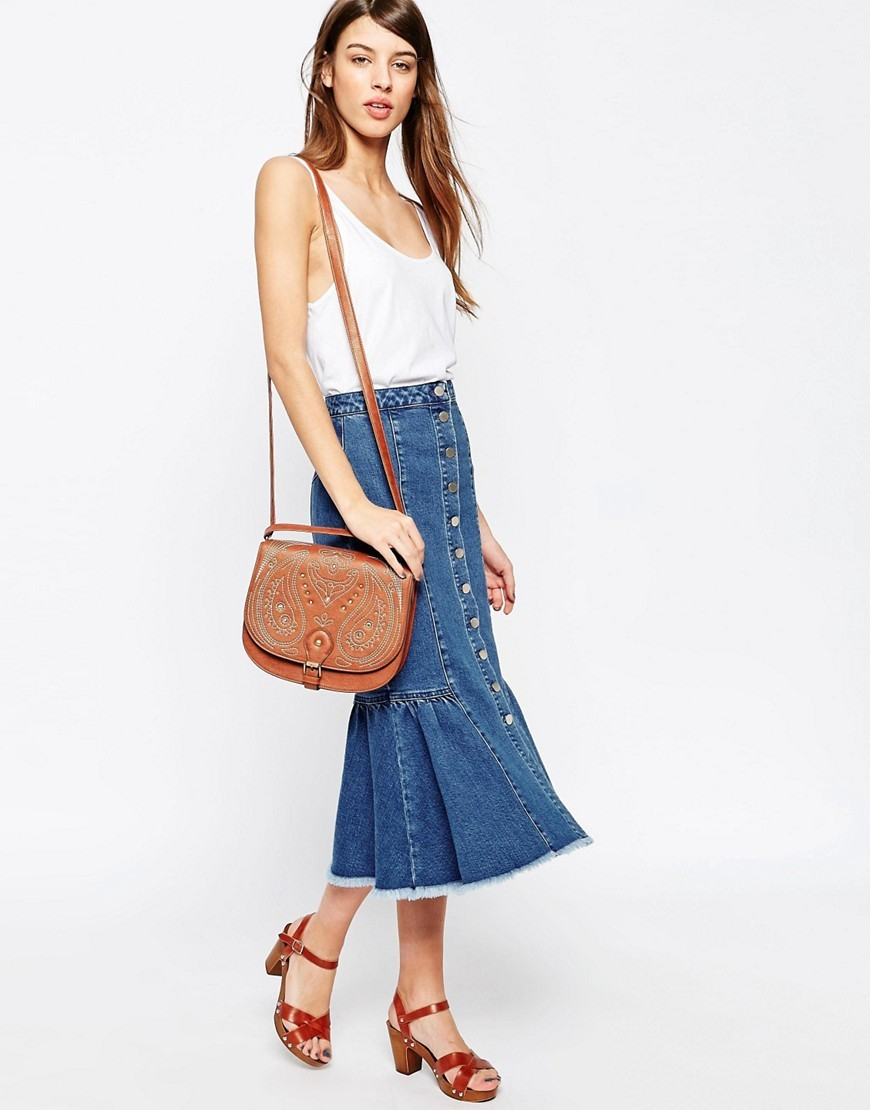 Denim Midi Skirt With Ruffle Hem Midwash Blue - length: calf length; pattern: plain; fit: loose/voluminous; waist: high rise; predominant colour: denim; occasions: casual; style: a-line; fibres: cotton - stretch; texture group: denim; pattern type: fabric; season: s/s 2016; wardrobe: basic