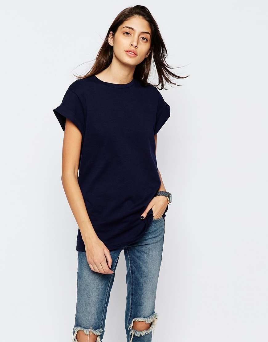 The Ultimate Easy T Shirt Navy - pattern: plain; length: below the bottom; style: t-shirt; predominant colour: navy; occasions: casual; fibres: cotton - 100%; fit: body skimming; neckline: crew; sleeve length: short sleeve; sleeve style: standard; pattern type: fabric; texture group: jersey - stretchy/drapey; season: s/s 2016; wardrobe: basic