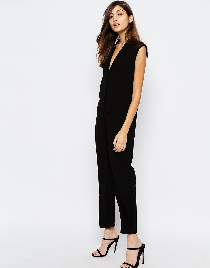 Sleeveless Wrap Jumpsuit Black - length: standard; neckline: low v-neck; fit: loose; pattern: plain; sleeve style: sleeveless; predominant colour: black; occasions: evening; fibres: polyester/polyamide - 100%; sleeve length: sleeveless; style: jumpsuit; pattern type: fabric; texture group: jersey - stretchy/drapey; season: s/s 2016; wardrobe: event