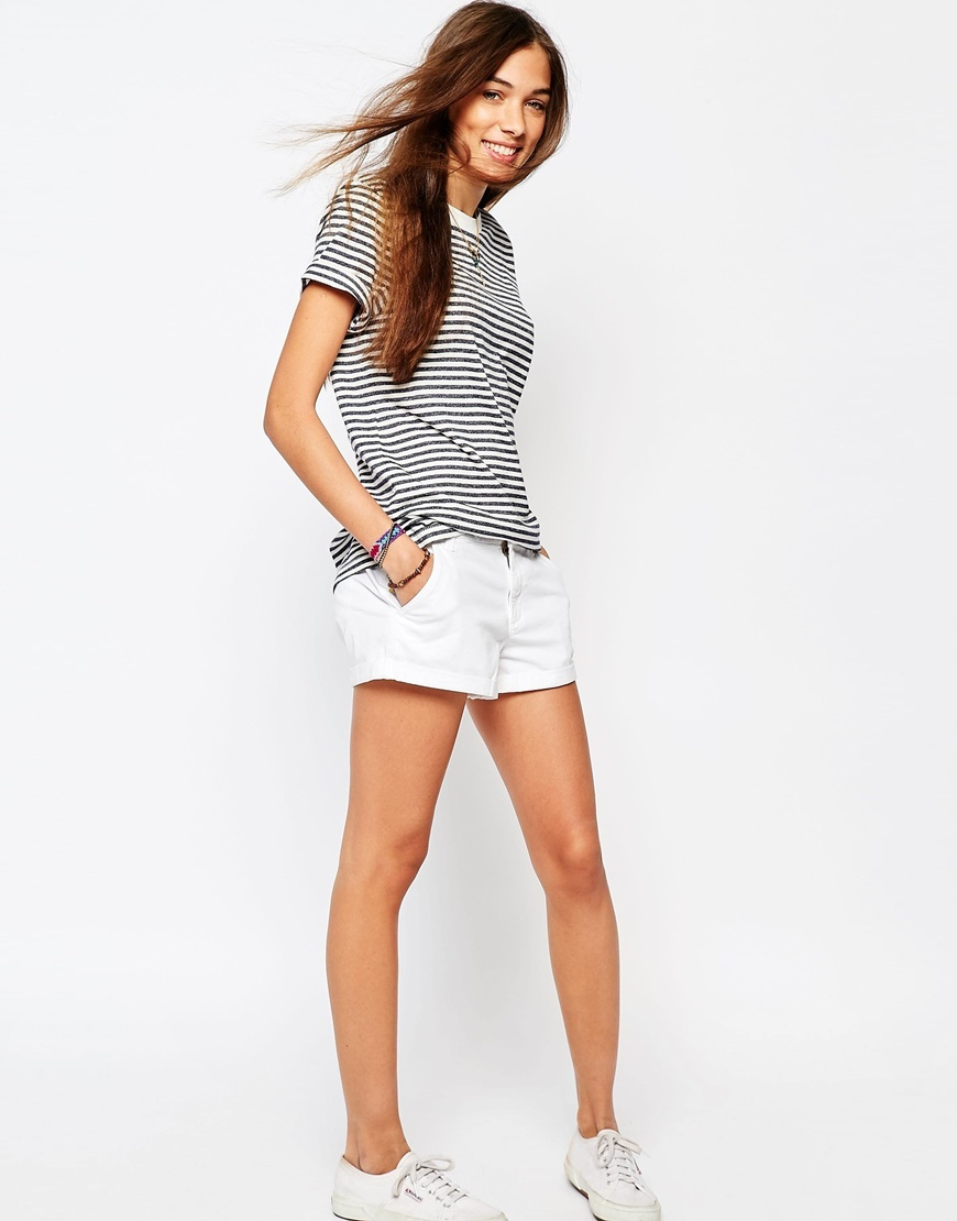 Core Chino Shorts White Lace - pattern: plain; waist: low rise; predominant colour: white; fibres: cotton - mix; texture group: cotton feel fabrics; occasions: holiday; pattern type: fabric; embellishment: lace; season: s/s 2016; style: shorts; length: short shorts; fit: slim leg; wardrobe: holiday; embellishment location: hip